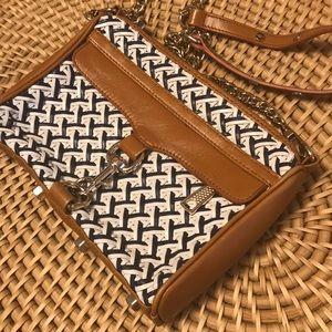 Rebecca Minkoff woven navy white tan purse.